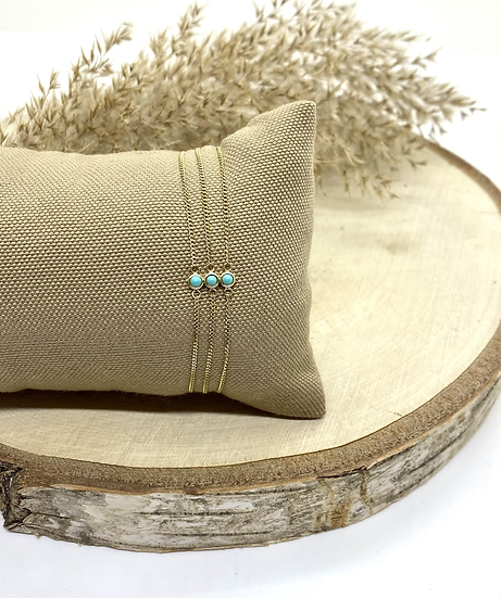Bracelet triple chaine, turquoise - ZAG Bijoux