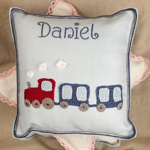 Daniel's Blue Train Baby Cushion