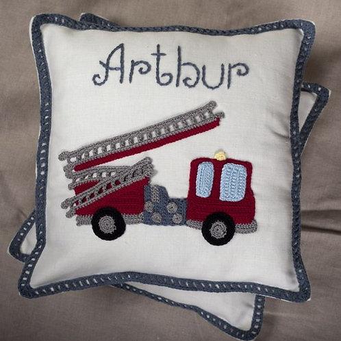 Fire Engine cream baby cushion