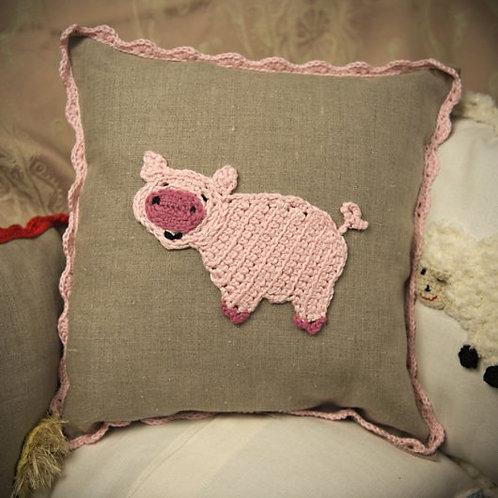 Piggy baby cushion on grey