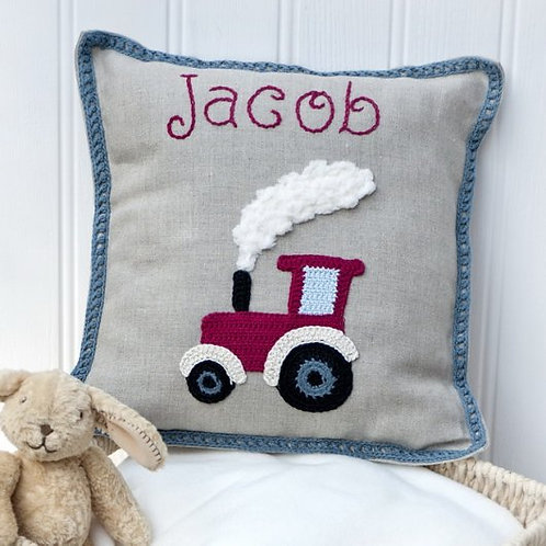 Personalised Tractor Baby Cushion , Farm Baby Room, Farm lovers ,Nursery Cushion