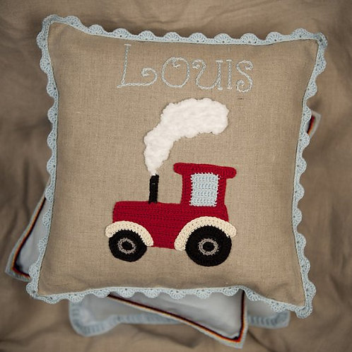 Red Tractor  Baby Cushion on grey