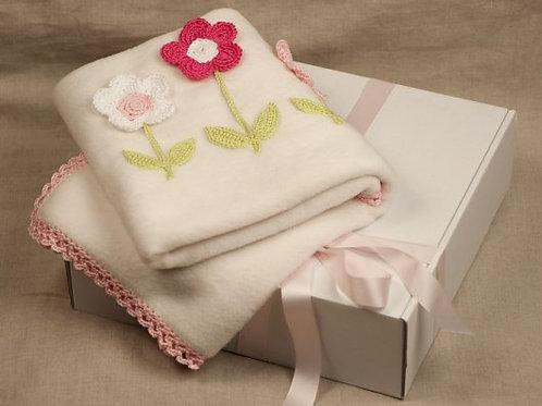 Pink flowers baby  blanket