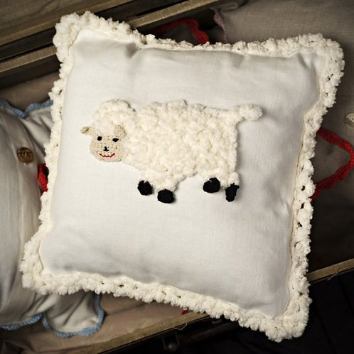 Lamb baby cushion on white