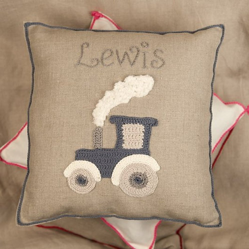Lewis Tractor Baby Cushion  on grey