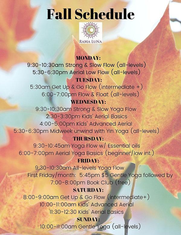 Fall schedule 2020
