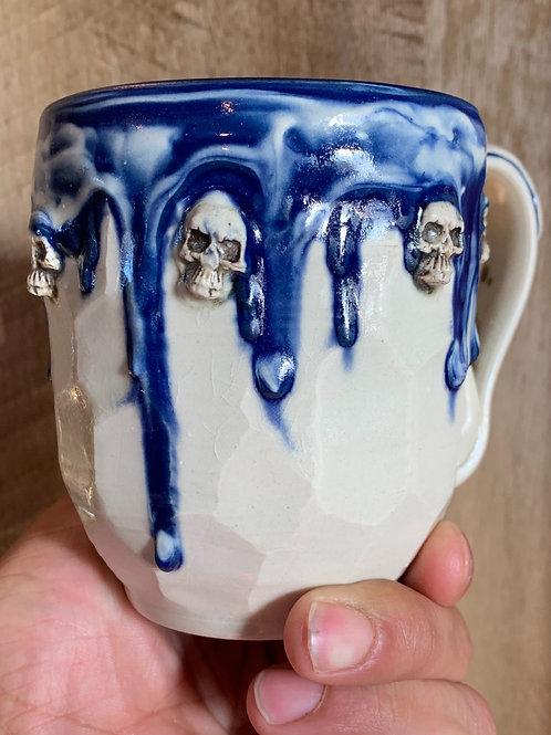 Blue and White skull mug