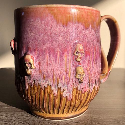 Pink skull Mug  sparkly gothy Mug
