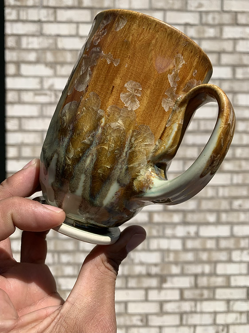 Iron colored zinc crystalline mug