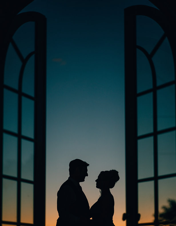hamilton wedding photography of bride and groom silhouette during sunset.