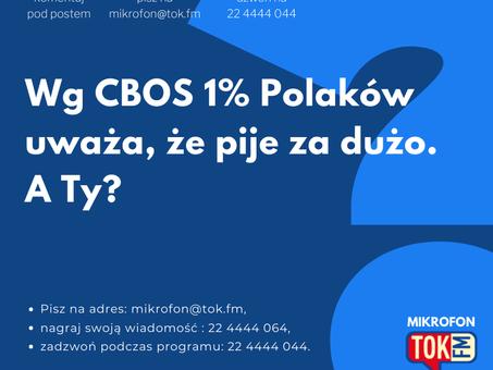 """Wg CBOS 1% Polaków uważa, że pije za dużo - Agata Stola w programie """"Mikrofon"""" Radia TOK FM"""