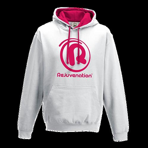 Rejuvenation White & Neon Pink Hoody - ® Logo