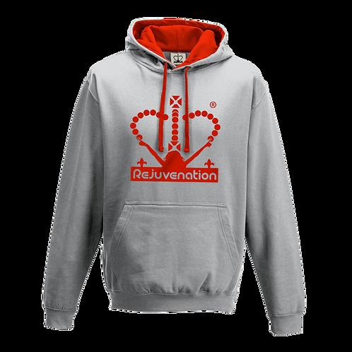 Rejuvenation Grey & Red Hoody - Crown Logo