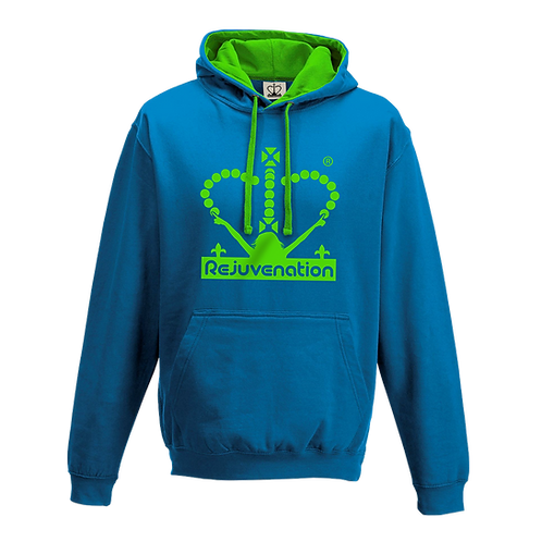 Rejuvenation Sapphire Blue & Neon Green Hoody - Crown Logo