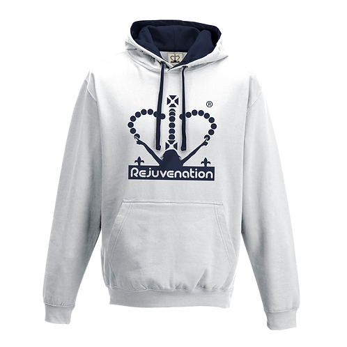 Rejuvenation White & Navy Blue Hoody - Crown Logo