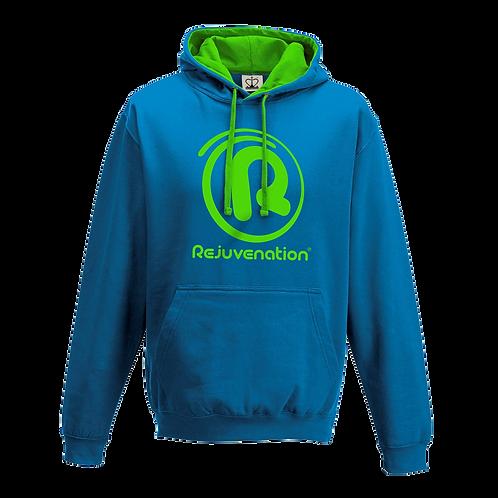Rejuvenation Sapphire Blue & Neon Green Hoody - ® Logo
