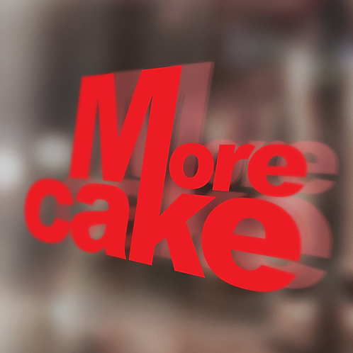 More Cake Red Window Sticker