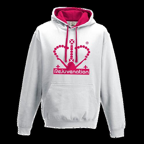 Rejuvenation White & Neon Pink Hoody - Crown Logo
