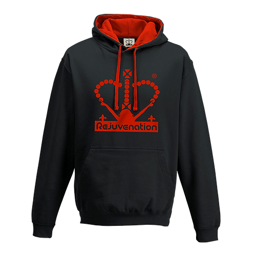 Rejuvenation Black & Red Hoody - Crown Logo