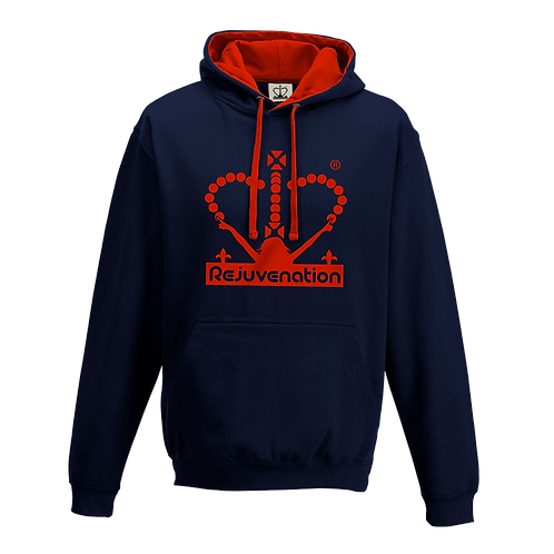 Rejuvenation Navy Blue & Red Hoody - Crown Logo