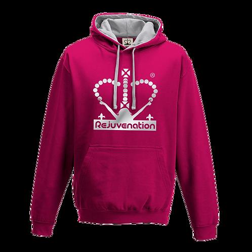 Rejuvenation Hot Pink & Silver Hoody - Crown Logo