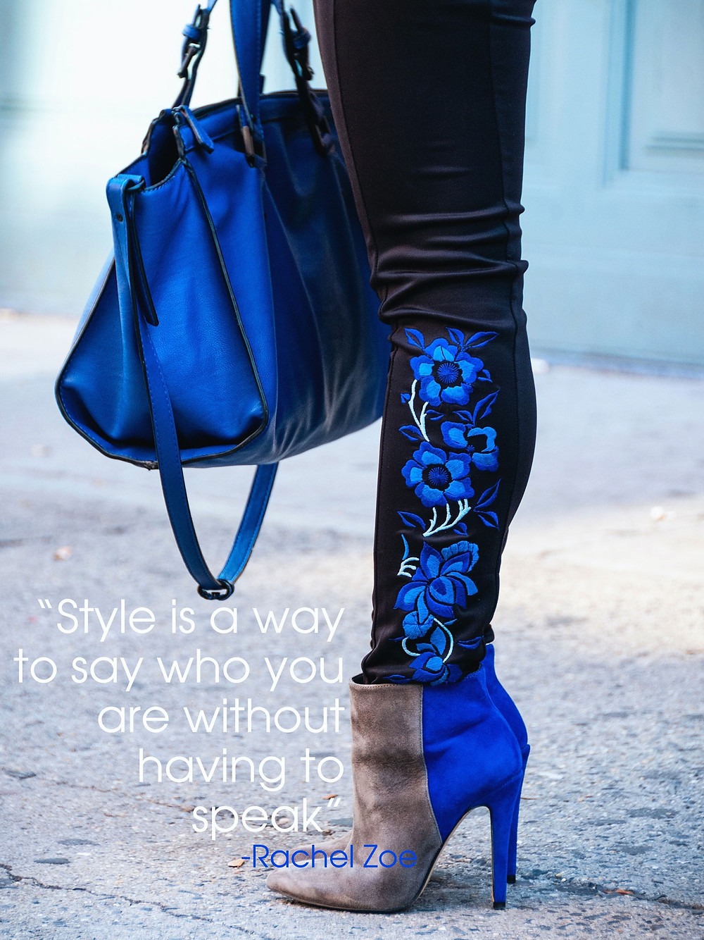 Women's leg with floral legging, high heels and blue hand bag