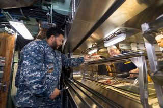 Huntington Ingalls Industries celebrates first meal aboard Submarine Indiana