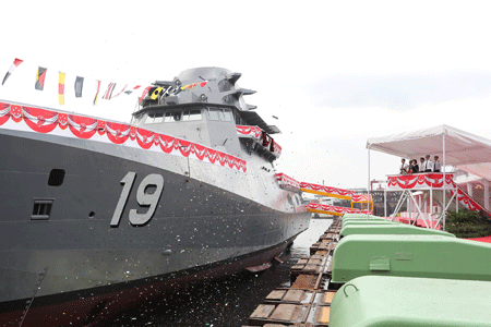 ST Marine celebrates the launch of the fifth Littoral Mission Vessel – Indomitable