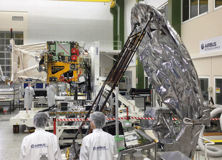 The Japanese Cloud Profiling Radar (foreground right) will be assembled to ESA´s EarthCARE satellite which is under development at Airbus. Photo: Airbus DS GmbH / Mathias Pikelj