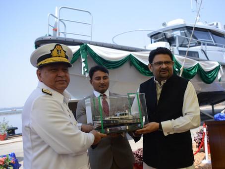 Karachi Shipyards & Engineering Works  delivers two Damen Stan Patrol 1605 FRP patrol boats to P