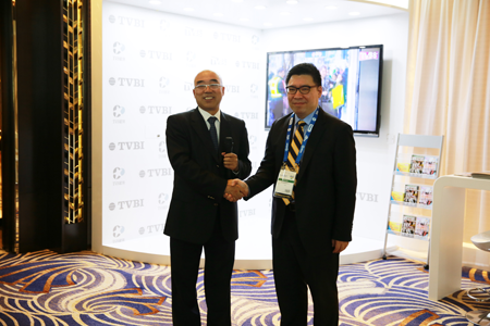 Huang Baozhong of APT Satellite and Sherman Lee of TVBI