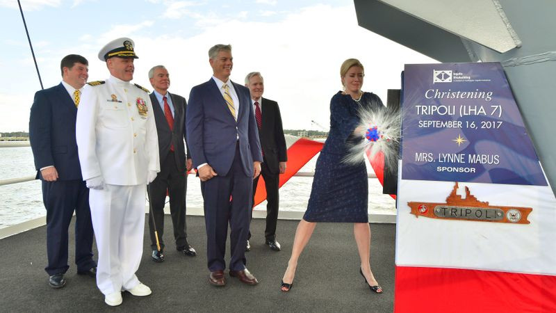 Huntington Ingalls Industries christens amphibious assault ship Tripoli (LHA 7)