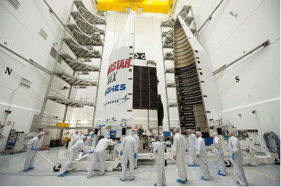 Lockheed Martin and ULA Encapsulate EchoStar XIX Satellite for December 18 Launch