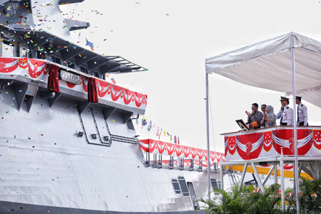 The launching of the fourth Littoral Mission Vessel - Justice, built by ST Marine for the Republic of Singapore Navy.