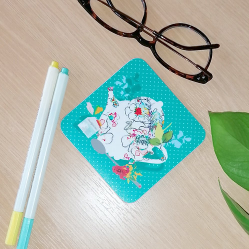 TEAL TEAPOT COASTER