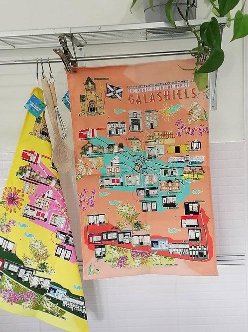 CORAL MAP OF GALASHIELS TEA TOWEL