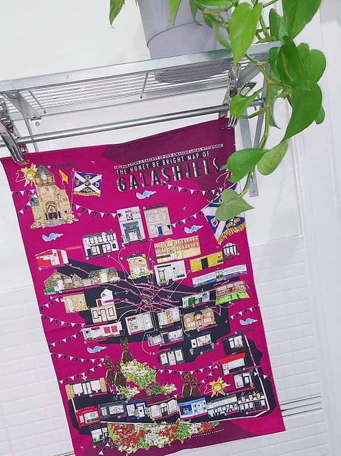 BRAW LADS MAP OF GALASHIELS TEA TOWEL Message to Pre Order