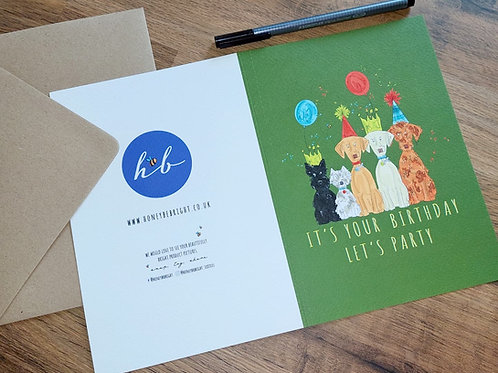 GREEN LET'S PARTY CARD