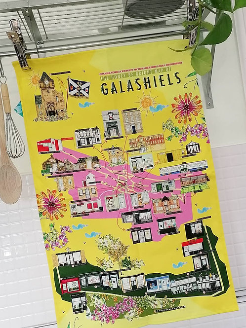 YELLOW MAP OF GALASHIELS TEA TOWEL