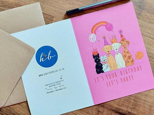 PINK LET'S PARTY CARD
