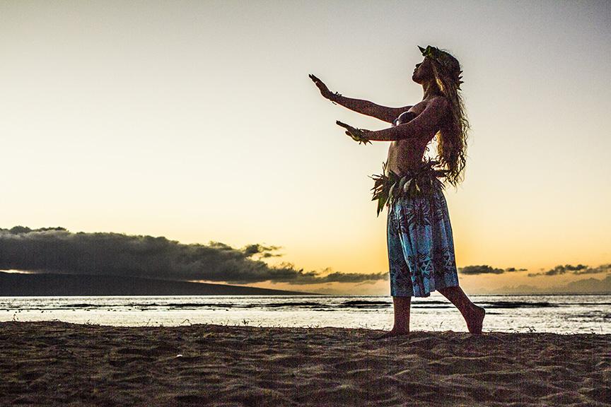 HULA GIRL AT SUNSET, MAUI, HAWAII