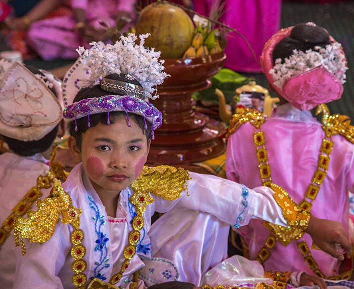 NEW MONK INITIATION CEREMONY,MYANMAR
