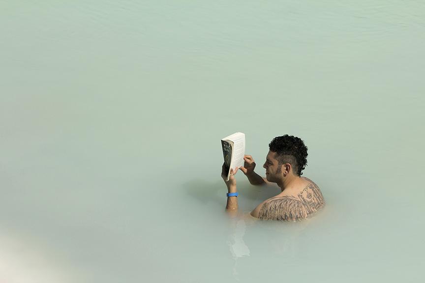 AVID READER, BLUE LAGOON, ICELAND
