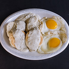 Two eggs any style, sausage gravy and biscuits