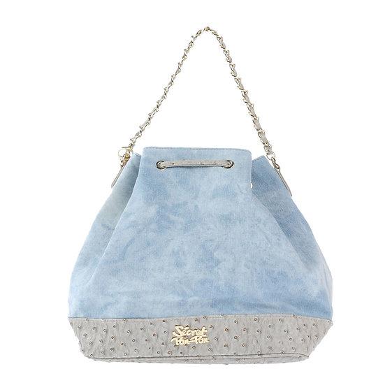 Secret Pon Pon Bag Grey Jean Handbag