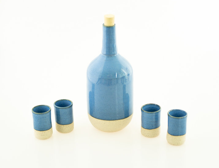 Ceramic Set Bottle with 4 shot glasses
