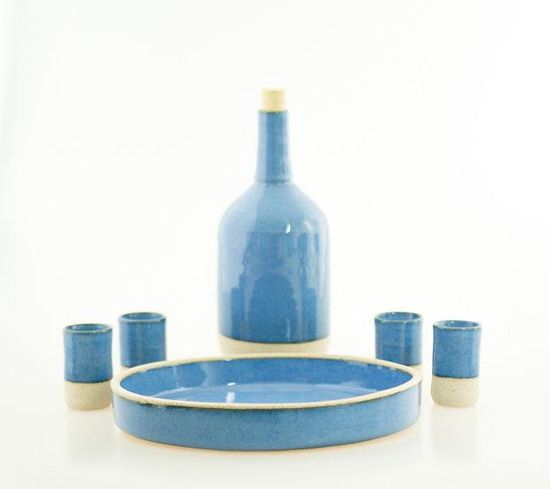 Ceramic Handmade Set Bottle Glasses Plate