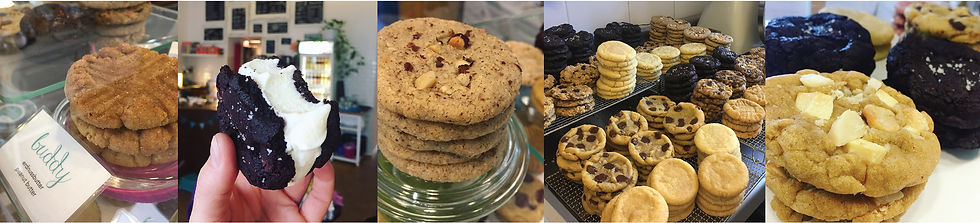 A variety of soft, chewy, American style, fresh baked cookies in our Berlin, Germany cafe