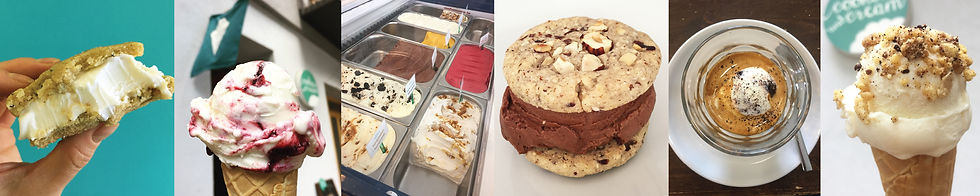 A collage of different ice cream flavors and ice cream based desserts served in our Berlin cafe