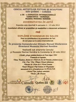 Diplôme d'honneur Expo Roumanie -CAPSQ